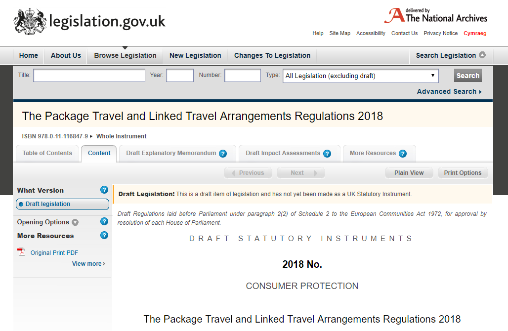 tour operator's insurance regulations